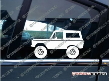 2x Lifted classic Ford Bronco offroad 4x4 truck silhouette stickers